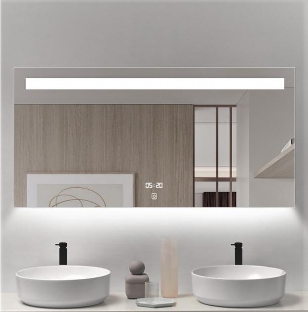 Дзеркало для ванної кімнати з підсвічуванням 65х80 DE-M3021 Dusel з годинником