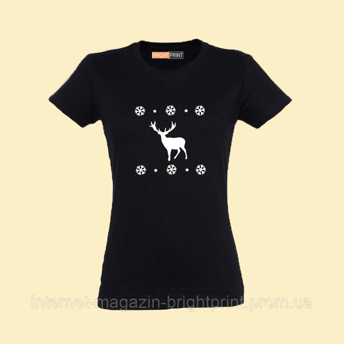 "Жіноча футболка з принтом ""Футболка с оленем"""