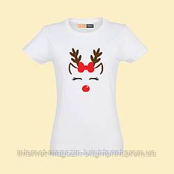 """Жіноча футболка з принтом """"Футболка с новорічним оленем"""""""