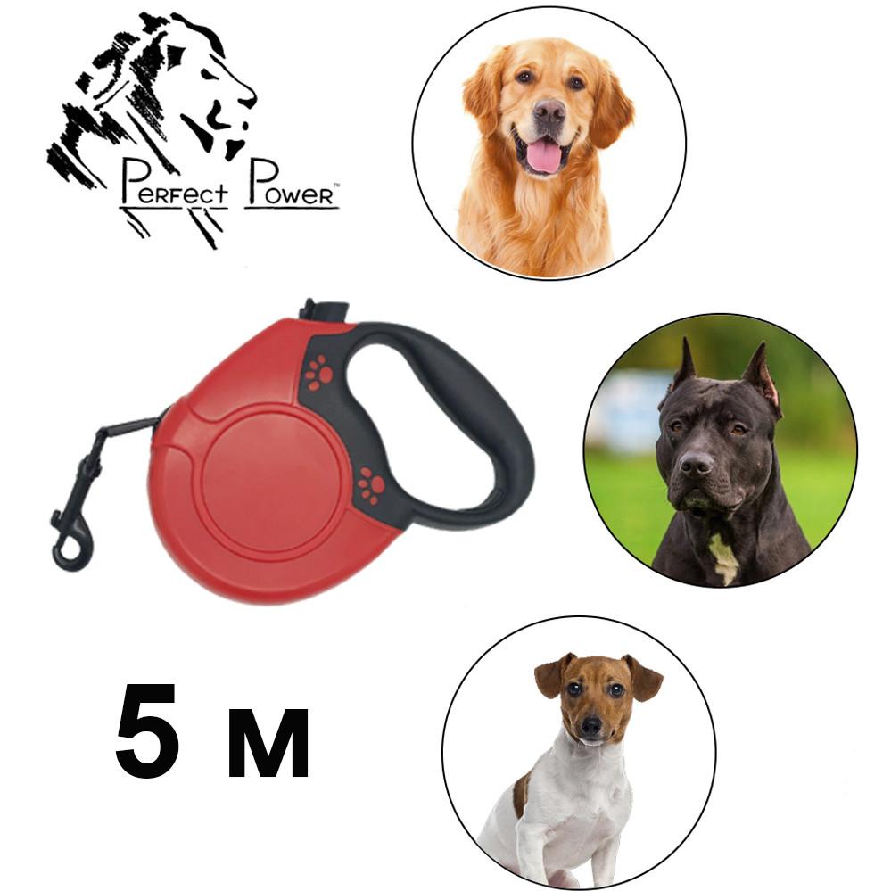 Повідець рулетка з висувною стрічкою для собак до 15 кг повідець 5 м механічний міцний для тварин для цуценят