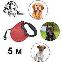 Поводок рулетка с выдвижной лентой для собак до 20 кг 5 м Механический прочный для животных для щенят