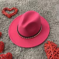 Шляпа Федора малиновая с устойчивыми полями Gold Chain унисекс, фото 1
