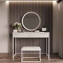"""Туалетный столик с банкеткой и зеркалом """"Визави Белый"""""""