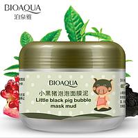 Киснева, бульбашкова маска Bioaqua Carbonated Bubble Clay Mask , пінна маска ( Little blach pig bubble)