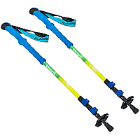 Палиці скандинавські телескопічні трекінгові для скандинавської ходьби ZELART 2 шт Синьо-жовті (TY-0469)