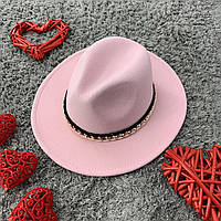 Шляпа Федора розовая с устойчивыми полями Gold Chain унисекс