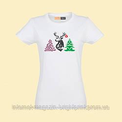 """Жіноча футболка з принтом """"Новорічний олень"""""""