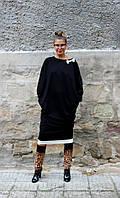 Черное платье свободный силуэт большие размеры