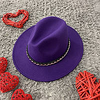 Шляпа Федора фиолетовая с устойчивыми полями Gold Chain унисекс