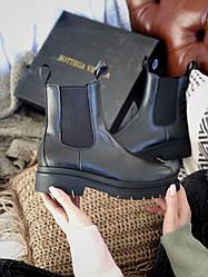 Черевики жіночі демісезонні Bottega Veneta Black Boots Байка (Чорний) Ботега Венета Люкс