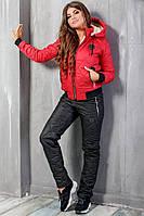 Теплый женский костюм Филипп черный с красным, фото 1