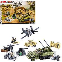 Конструктор SLUBAN M38-B0812 Военный, транспорт, пушка, фигурки, 552 деталей