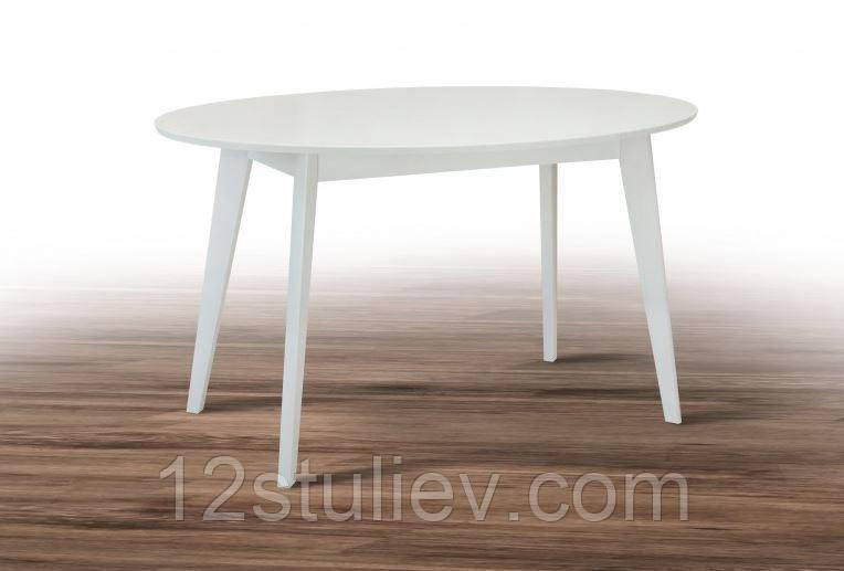 Стол кухонный Белый овальный СО-293.6  Космо 1375*900