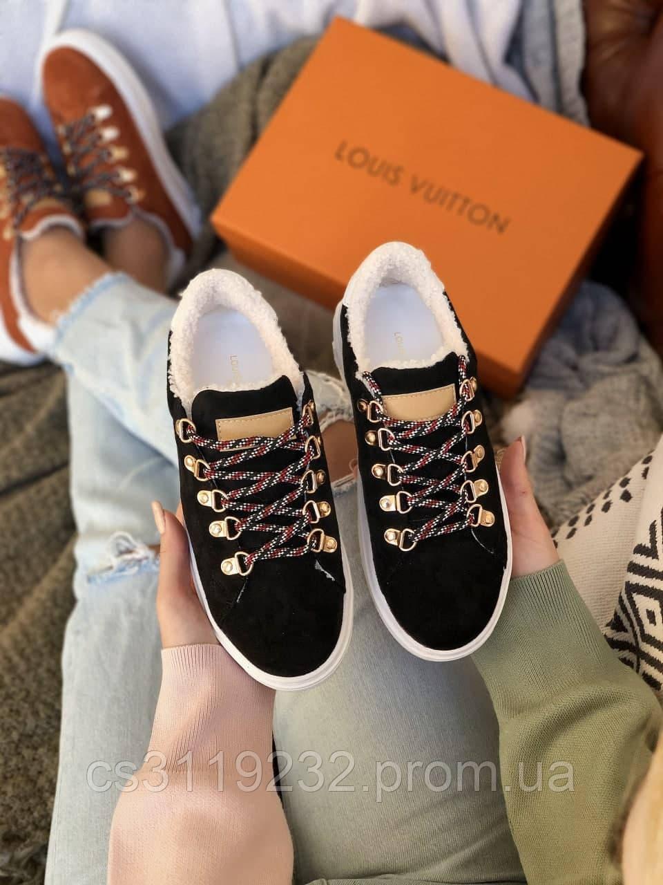 Женские кроссовки зимние Louis Vuitton TIME OUT ESCALE (черные)