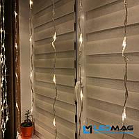 Гирлянда на окно Водопад 3 х 2м 400 LED теплый белый на прозрачном проводе с контроллером