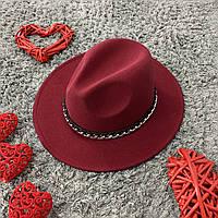 Шляпа Федора бордовая с устойчивыми полями Gold Chain унисекс