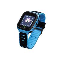 Детскиe часы-телефон с GPS, кнопкой SOS Smart Watch F4 с фонариком голубые