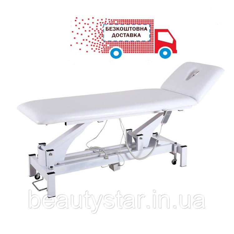 Стационарный массажный стол 2 секции электро регулировкой высоты кушетка массажная диагностическая DM-2301