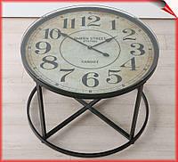 Столик журнальный круглый с часами Антик черный металл 56см х 80см