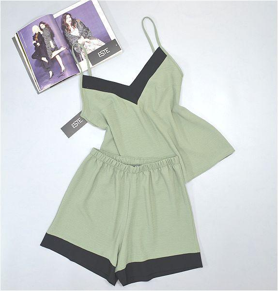 Женский комплект в пижамном стиле майка и шорты Este 611-хаки.