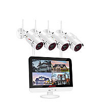 Комплект видеонаблюдения ANRAN LCD-4 4CH NVR 2MP 1080P + LCD экран (4 камеры + всё для монтажа), фото 1