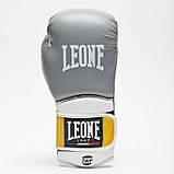 Боксерські рукавички шкіряні Leone Tecnico Grey 12 oz унцій сірий, фото 4