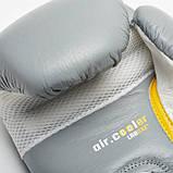 Боксерські рукавички шкіряні Leone Tecnico Grey 12 oz унцій сірий, фото 5