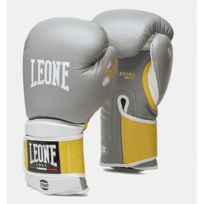 Боксерские перчатки кожаные Leone Tecnico Grey 14 oz унций серый
