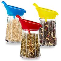 Емкость для сыпучих продуктов с пластиковой крышкой и ложкой 9х7х13см 180мл
