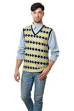 Модная мужская хлопковая жилетка с оригинальным принтом в ромб желтая