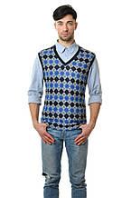 Модная мужская хлопковая жилетка с оригинальным принтом в ромб синяя