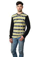 Стильный мужской хлопковый свитер с оригинальным принтом черно-желтый