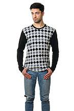 Стильный мужской хлопковый свитер с оригинальным принтом светло-серый