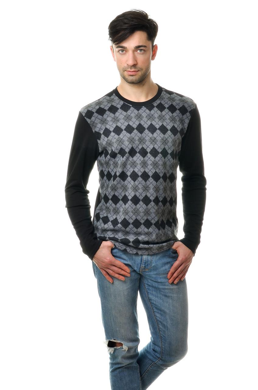 Стильный мужской хлопковый свитер с оригинальным принтом темно-серый