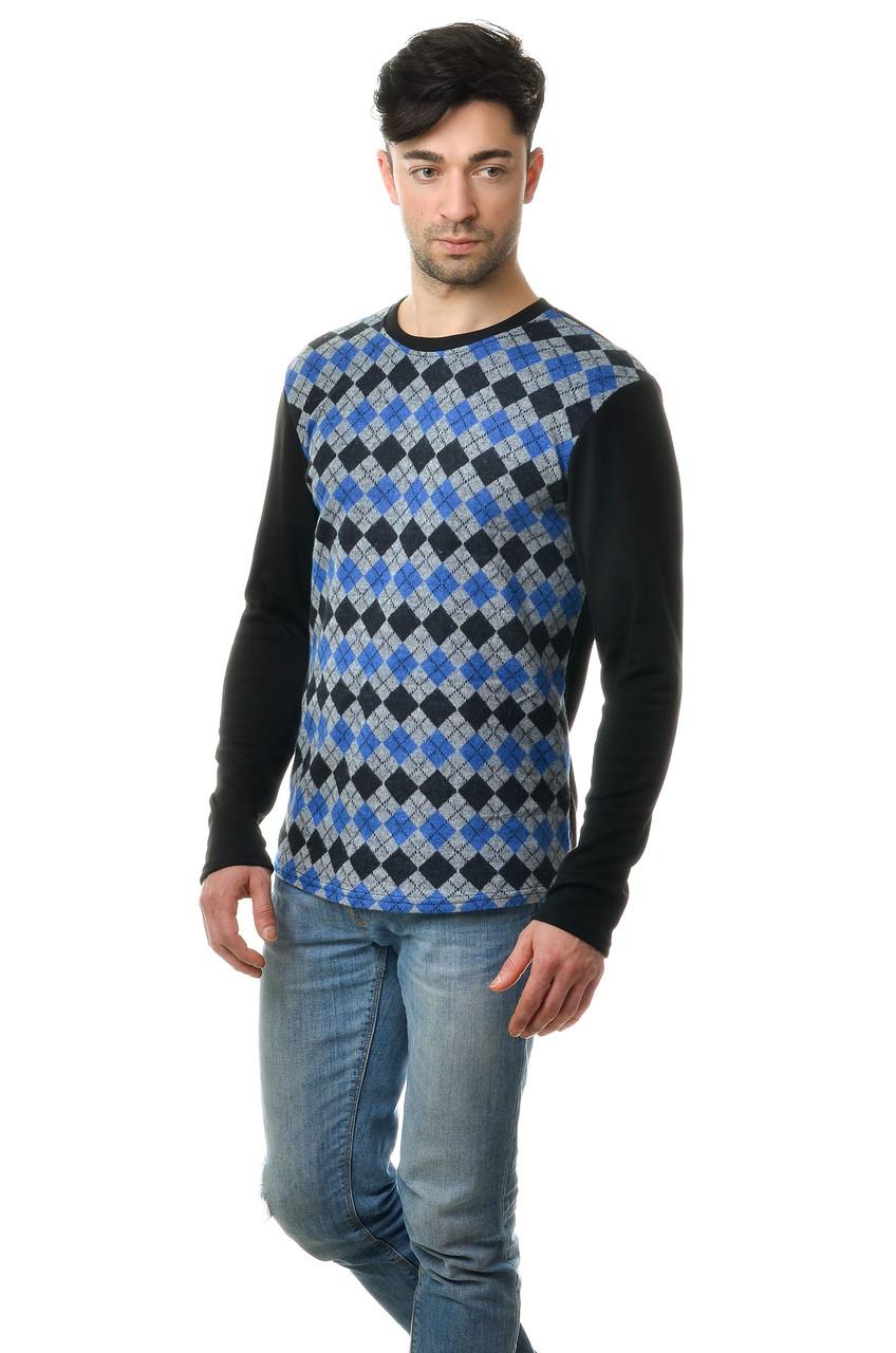 Стильный мужской хлопковый свитер с оригинальным принтом синий