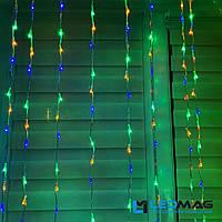 Гирлянда на окно Водопад 2,5 х 1,5 м 360 LED разноцветная на прозрачном проводе с контроллером