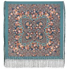 Мчится тройка 1896-12, павлопосадский платок (шаль) из уплотненной шерсти с шелковой вязаной бахромой