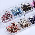 Пластівці Юки для нігтів, набір 12 кольорів, фото 2