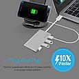 USB Type-C хаб Minihub-C4 Silver (Распакован), фото 6