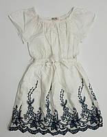 Летнее белое котоновое платье с вышивкой для девочки на праздник, р.14 лет