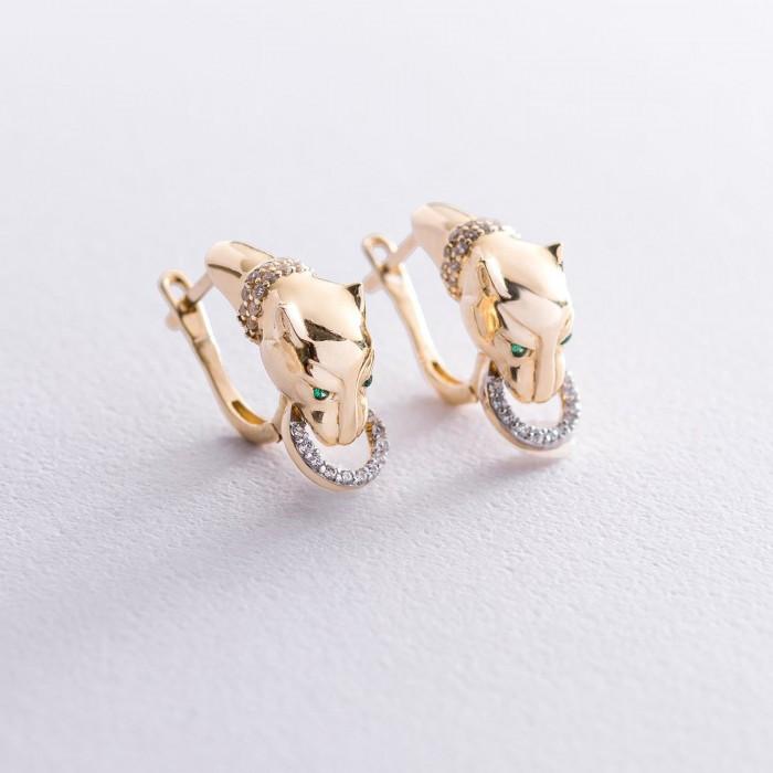 """Золоті сережки """"Пантера"""" з фіанітами гс05915"""