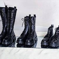 Ботинки берцы женские кожаные Милитари осень зима высота 12, 24, 37см