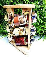 Набор специй в деревянной подставке 9 штук