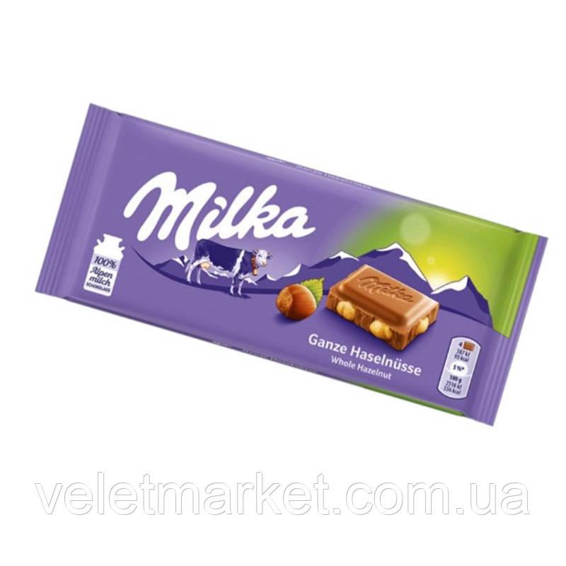 Шоколад Мілка з цілими лісовими горіхами 100 г
