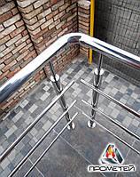 Перила из нержавеющей стали AISI 304 на крыльце частного дома, поручень Ø50 мм, стойка Ø42 мм, 3 ригеля Ø16 мм, фото 1