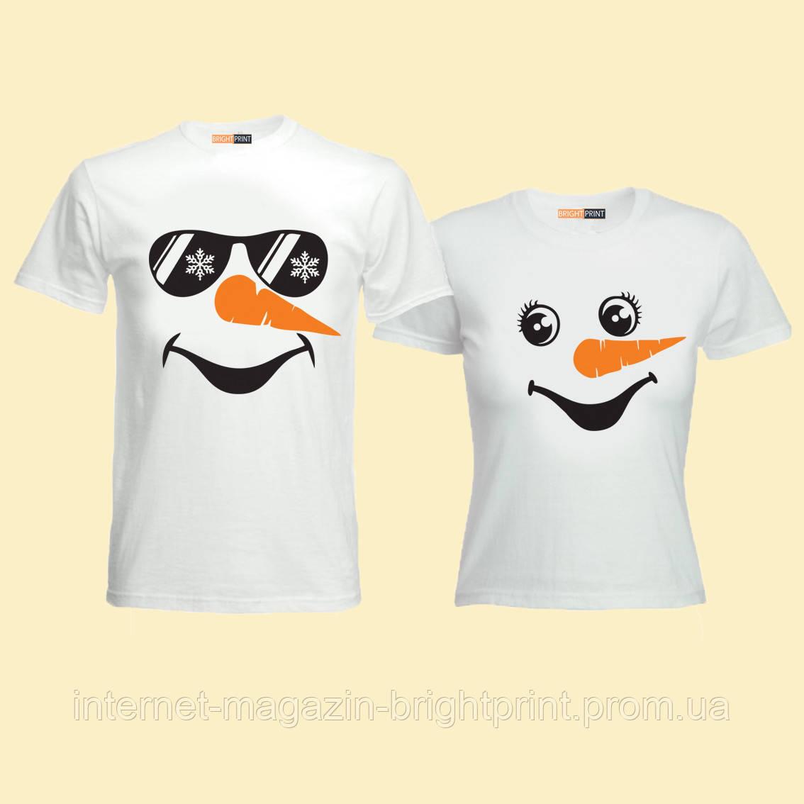 """Парний набір футболок """"Сніговики"""""""