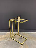 Элегантный прикроватный золотой прочный столик со стеклом