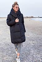 Женская зимняя куртка с капюшоном на силиконе 300 42 44 46 48 черная розовая белая мятная Зефирка