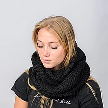 Женский шарф снуд вязаный черный