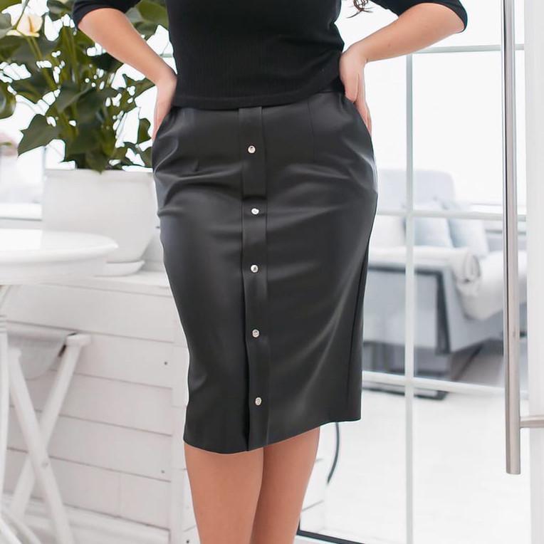 Батальная чёрная кожаная юбка